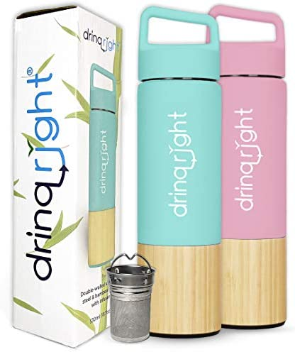 drinqright™ Bamboo Water Bottle | Stainless Steel Water Bottle, Vacuum Insulated with Infuser & Strainer| Reusable Water Bottle, Lightweight & Eco Friendly Water Bottle (BPA Free)