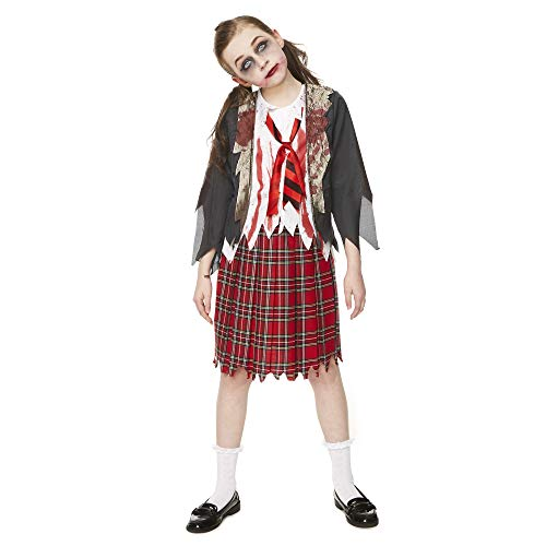 (Girl's Zombie School Girl Costume, for Halloween Party Accessory, Extra)