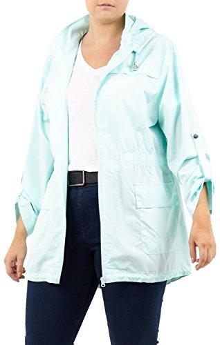 Plus Zip Jackets Selfie Plain Showerproof Mint Size Womens Lightweight 8 Fishtail Pale Parka Mac Click Rain 24 New OzxSwvt