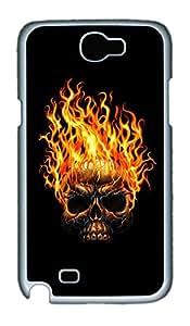 Samsung Note 2 Case Skull On Fire PC Custom Samsung Note 2 Case Cover White
