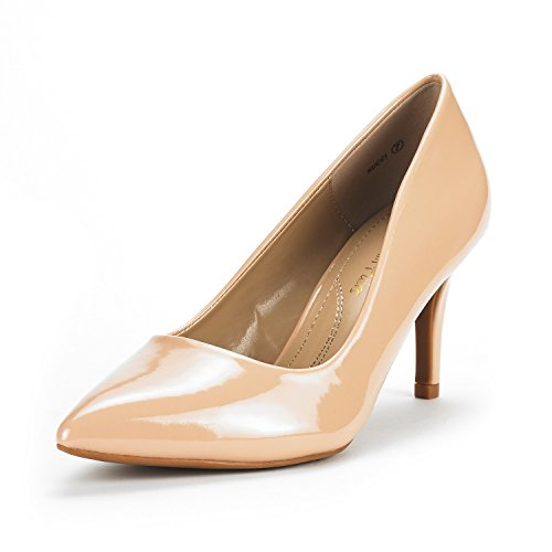 DREAM PAIRS Women's KUCCI Nude Pat Classic Fashion Pointed Toe High Heel Dress Pumps Shoes Size 9.5 M US