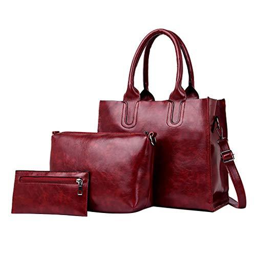 3 Pcs Handle Bag,AgrinTol Women Pattern Solid Messenger Bag+Handbag+Coin Purse (Wine) ()