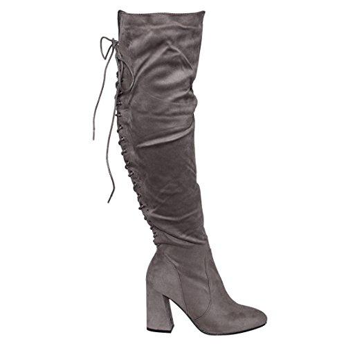 Beston FM30 Frauen Lace Up Side Zipper Overknee High Stiefel halbe Größe klein Grau