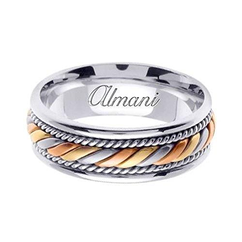 7mm 14k Tri Color Band - Almani 14k Gold 7mm Handmade Tri Color Wedding Ring 094 - Size 7.25