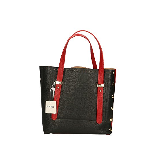 in Rouge en Bags Italy femme Cm Dollar véritable Impression 23x23x12 Noir Rouge Made cuir Sac à main POP qFzXHzT