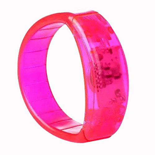 Livoty Cool Toy,Voice Activated Sound Control Colorful LED Flashing Bracelet Bangle Wristband Suitable for nightclubs, dance hall and parties (pink)]()