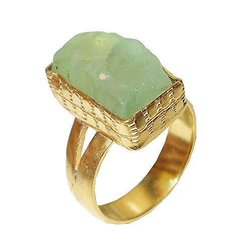 Fluorite Ring Yellow - 18k Yellow Gold Vermeil Green Fluorite Gemstone Women Wedding Ring