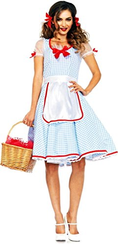 Women's Dorothy Wizard of Oz Blue White Gingham Dress Outfit Halloween Costume Medium