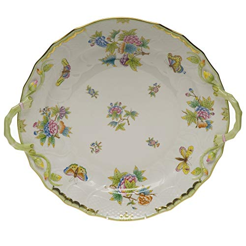 Herend Queen Victoria Green Porcelain Chop Plate With Handles
