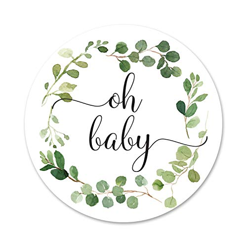 - 40 cnt Greenery Wreath Oh Baby Gender Neutral Stickers - Favor Stickers - Thank You Labels