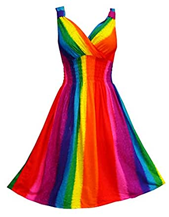 Pikulla V-Neck Sleeveless Women's Rainbow Gypsy Sundress Multicoloured One Size SM