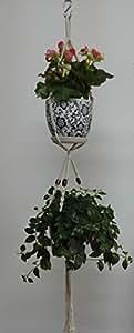 Tejido de algodón 4patas macramé planta titulares con marrón madera perlas decoración para macetas de doble, color natural, 43-inches sin la y maceta