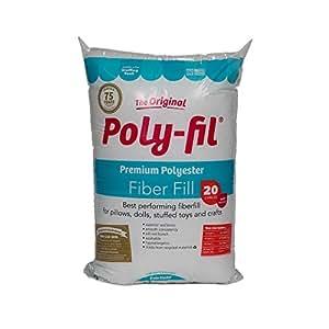 Fairfield the Original Poly-Fil Premium 100% Polyester Fiber Fill Bag, 20 Ounces, White
