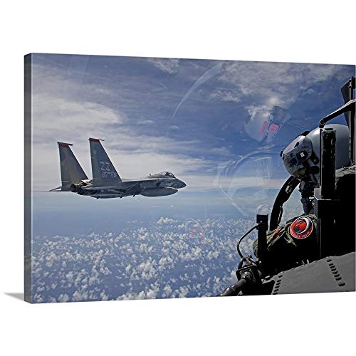 an F-15 Eagle Pilot Flies in Formation with his Wingman Canvas Wall Art Print, 24