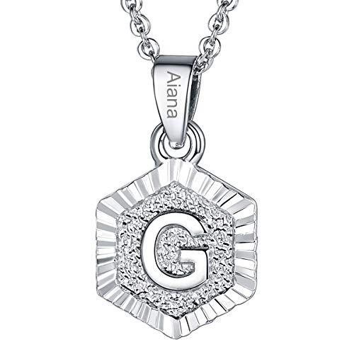 - Custom Name Necklace A-Z 26 Letters Pendants Platinum Plated Hexagon Script Monogram Initial Jewelry Stainless Steel 20 Inch Chain, Capital Alphabet Personalized Gifts for Women Girls (Letter G)