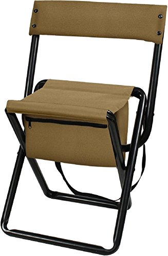Coyote Brown Deluxe Portable Folding Chair Stool with Pouch Back Straps ()