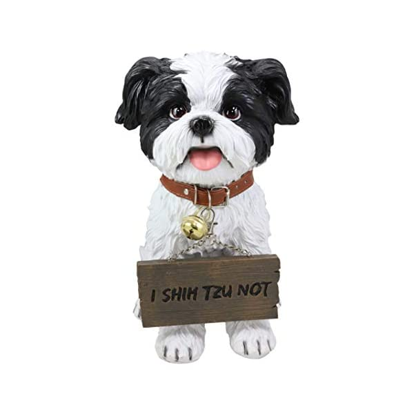 """Ebros Adorable Lifelike Panting Shih Tzu Toy Dog Breed Statue With Jingle Collar Welcome Greeting Sign 11.25""""Tall Realistic Shih Tzus Puppy Home And Garden Decor Figurine Animal Pet Memorial Sculpture 3"""