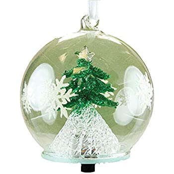 banberry designs led tree christmas ornament glass ball with green christmas tree inside hand painted with glitter snowflakes