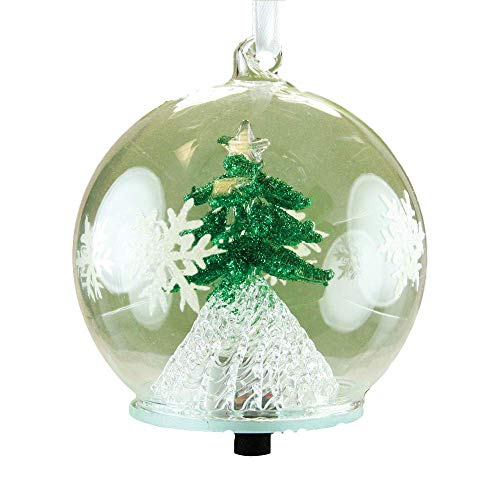 Snowman Hand Painted Ornaments - BANBERRY DESIGNS LED Tree Christmas Ornament - Glass Ball with Green Christmas Tree Inside - Hand Painted with Glitter Snowflakes