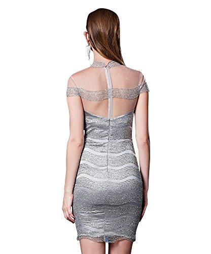 Emily Cocktail Backless Satin mini See Through Line Grey Sequins Dress A Beauty ZAFBqdgnq
