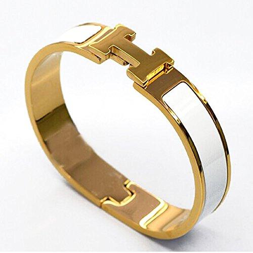 Price comparison product image Buckle Bangle Bracelet 12MM Color Gold / White