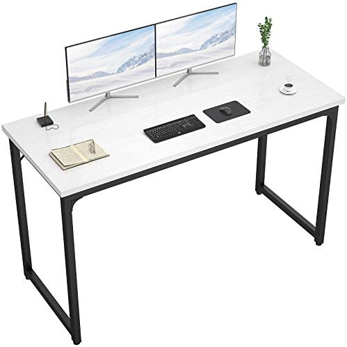 "Foxemart Computer Desk 55"" Modern Sturdy Office Desk 55 Inch PC Laptop Notebook Study Writing Table for Home Office Workstation, White"