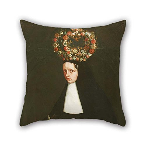 Pillow Cases 18 X 18 Inches / 45 By 45 Cm(2 Sides) Nice Choice For Sofa Floor Saloon Monther Living Room Birthday Oil Painting Maker Unknown, Mexican - Portrait Of The Reverend Mother Mar??a Antoni (Circle Velvet Echo)