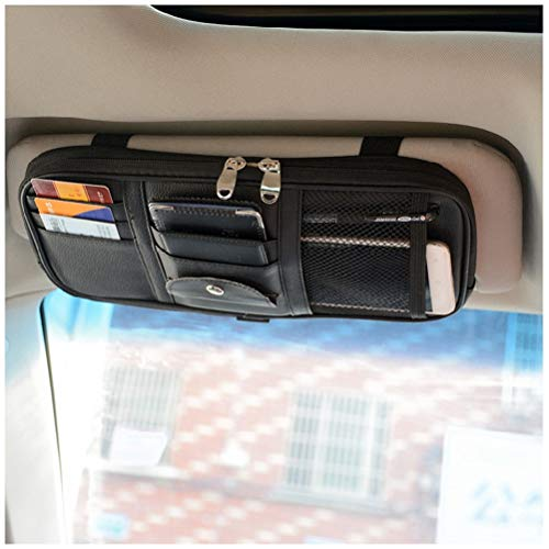 Car Sun Visor Organizer, Vankcp Auto Interior Accessories Sunglass Pen CD Card Small Document Storage Pouch Holder, PU Leather, Multi-Pocket with Zipper Net (Black)