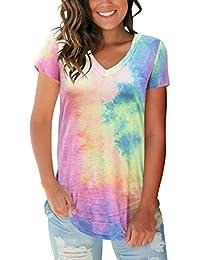 4421afae Women's Tops Tie Dye V Neck Summer Casual Short Sleeve T Shirts