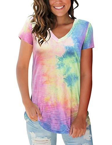 Womens Casual Short Sleeve Shirts V Neck Tie Dye Tops ()