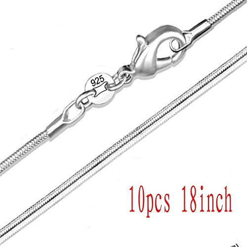 Wholesale Fashion Jewelry Gift Women's 925 Sterling Silver Plate 2mm Snake Chians Necklace (10pcs 18inch) ()