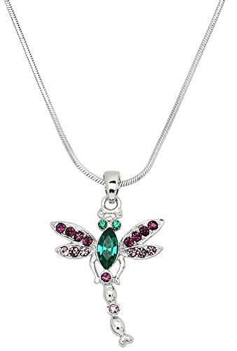Scuba Diving Dog Costume (Small Silver Tone Dragonfly Crystal Necklace Gift for Girls, Teens, Women (Purple, Green))