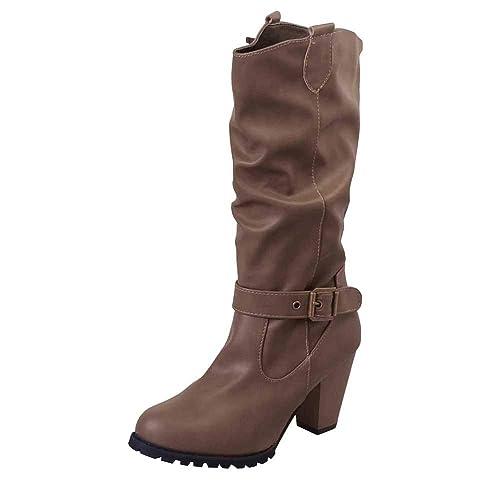 Botines de tacón Alto de Mujer, Mujeres Invierno Zapatos de Cuero Botas de tacón Alto