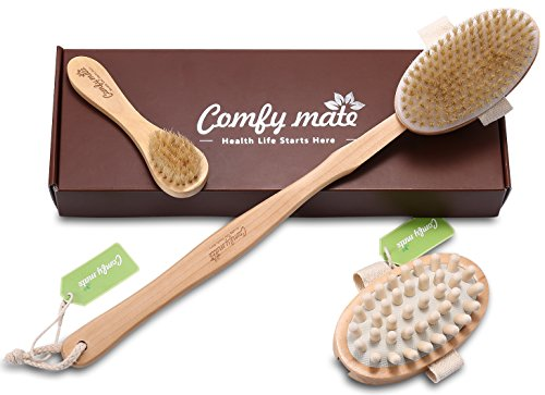 Natural Boar Bristle Body Brush with long handle & Face Brush Set for Body