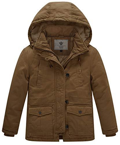 WenVen Boy's & Girl's Winter Parka Coat Thicken Cotton Twill Hooded Jacket, Brown, ()