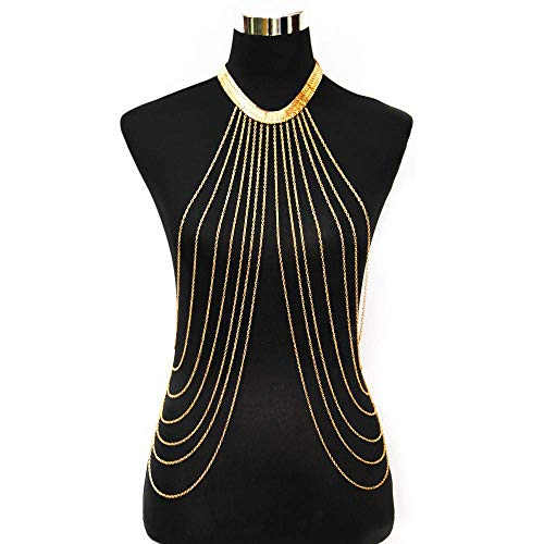Body Chain Layered Sexy Gold Tassels Necklace Fashion Jewelry Belly Waist Bra Boho Hot Bikini Beach Harness Birthday Anniversary Festival Gift for Women Girls
