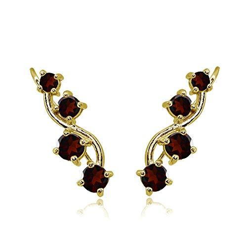 Gold Flash Sterling Silver Garnet Vine Climber Crawler Earrings for Women (Sterling Silver Vine Necklace)