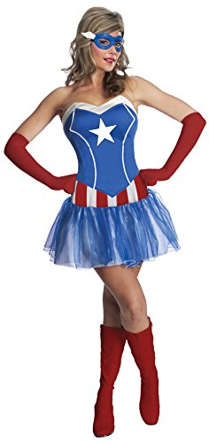 Secret Wishes Women's Marvel Universe American Dream Costume Tutu Dress and Mask, Multicolor, Small (Ladies Captain America Costumes)