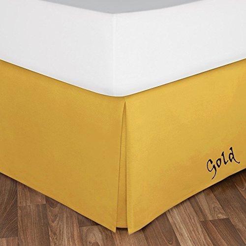 A&T Home Collection 400スレッドカウント 1ピース ベッドスカート 22インチフォール 100%エジプト綿 無地とカラー { カルフォルニアキング、無地、バーガンディ} ツイン ゴールド A&T-skt-s-79 B07KYPJT3X ゴールド ツイン