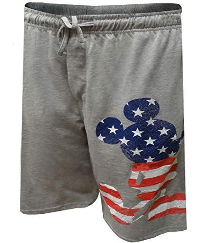 Mickey Mouse Shorts - Disney Patriotic Mickey Mouse Lounge Shorts for Men (Medium)