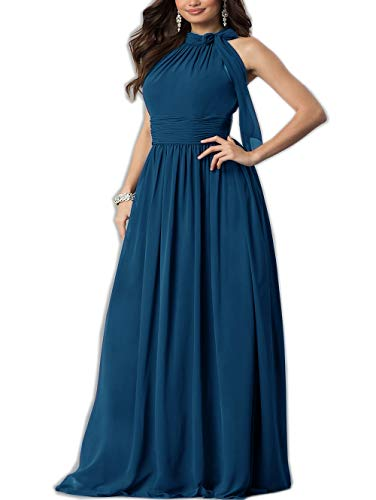 Roiii Women Cleb Prom Formal Casual Party Cocktail Wedding Evening Sleeveless High Waist Chiffon Plus Size Dress (3X-Large, Navy Blue)