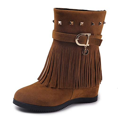 Rivet Color Tassel Fuxitoggo Hidden Buckle Heel Size on Boots 5 UK Shoes Slip 5 Brown Ankle Women qtBxfnPBR