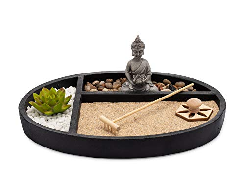 AsanaLiving Desktop Zen Sand Garden with Concrete Base, Meditating Statue, Bamboo Rake, Stamp and Faux Lotus Plant