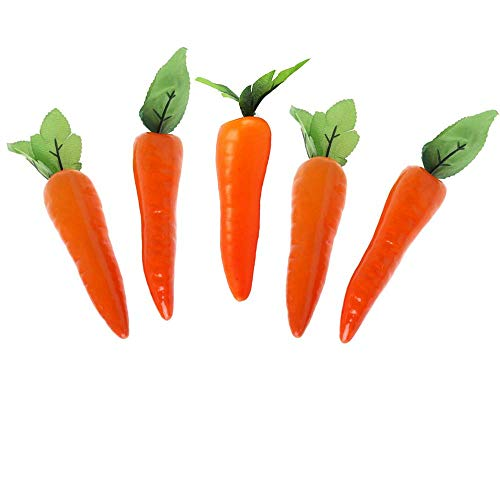 (5 Pcs Plastic Carrots Simulation Carrots Fake Carrot Artificial Vegetable Carrots for Home Kitchen Party Pub)