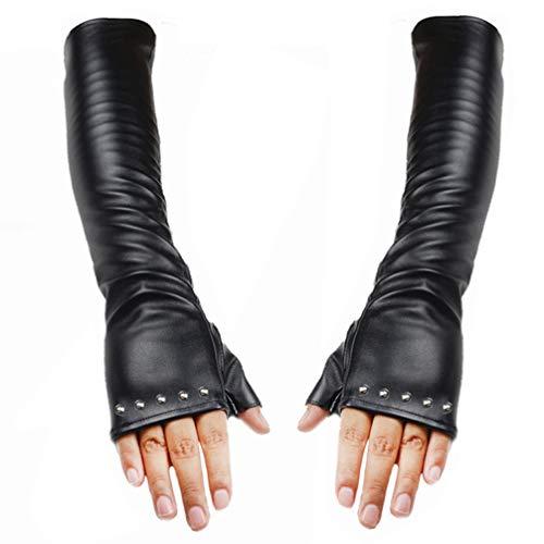 Luwint Long Faux Leather Gloves – Fashion Female Touchscreen Mitten for Women Youth Girls (Rivet -