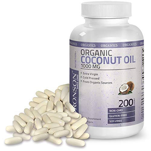 Organic Coconut Oil 1000mg - Promotes Beautiful Hair, Skin & Nails - Supports Healthy Weight & Metabolism - Cold Pressed Extra Virgin Unrefined - Non GMO, Gluten Free, Soy Free, 200 Softgels (Tropics Best Coconut Oil)