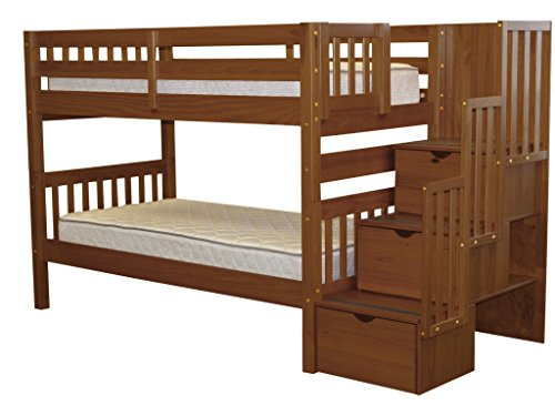 Bedz King Stairway Bunk Beds Twin over Twin with 3 Drawers in the Steps, Espresso