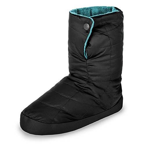 Booties Casual Shoes Down (Cabiniste Women's Down Insulated Bootie (Medium, Black/Teal))