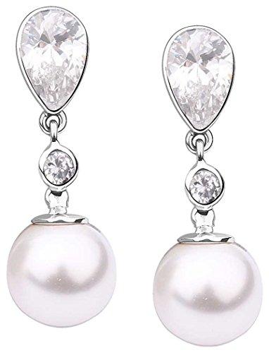 Damen Ohrringe Ohrhänger Perlen Muschelkernperlen Zirkonia weiß 925 Silber