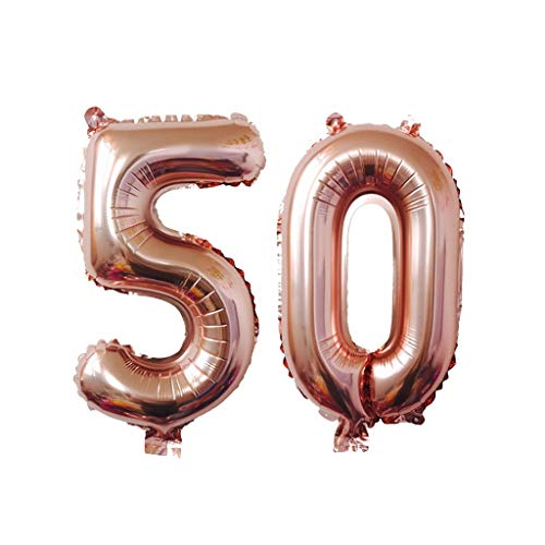 Euone 40 Inch Rose Gold Number Foil Digital Balloons for Birthday Party